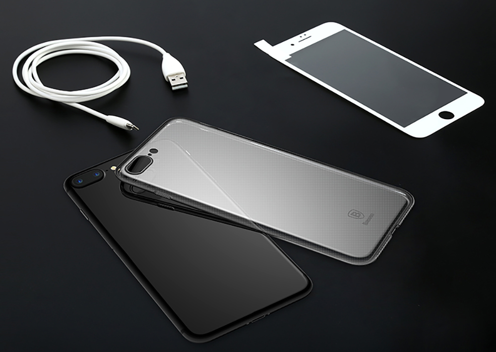 Baseus 3D Tempered Glass PET Film + Transparent Phone Shell + 8 Pin Cable Charging Protection Suit for iPhone 7 Plus