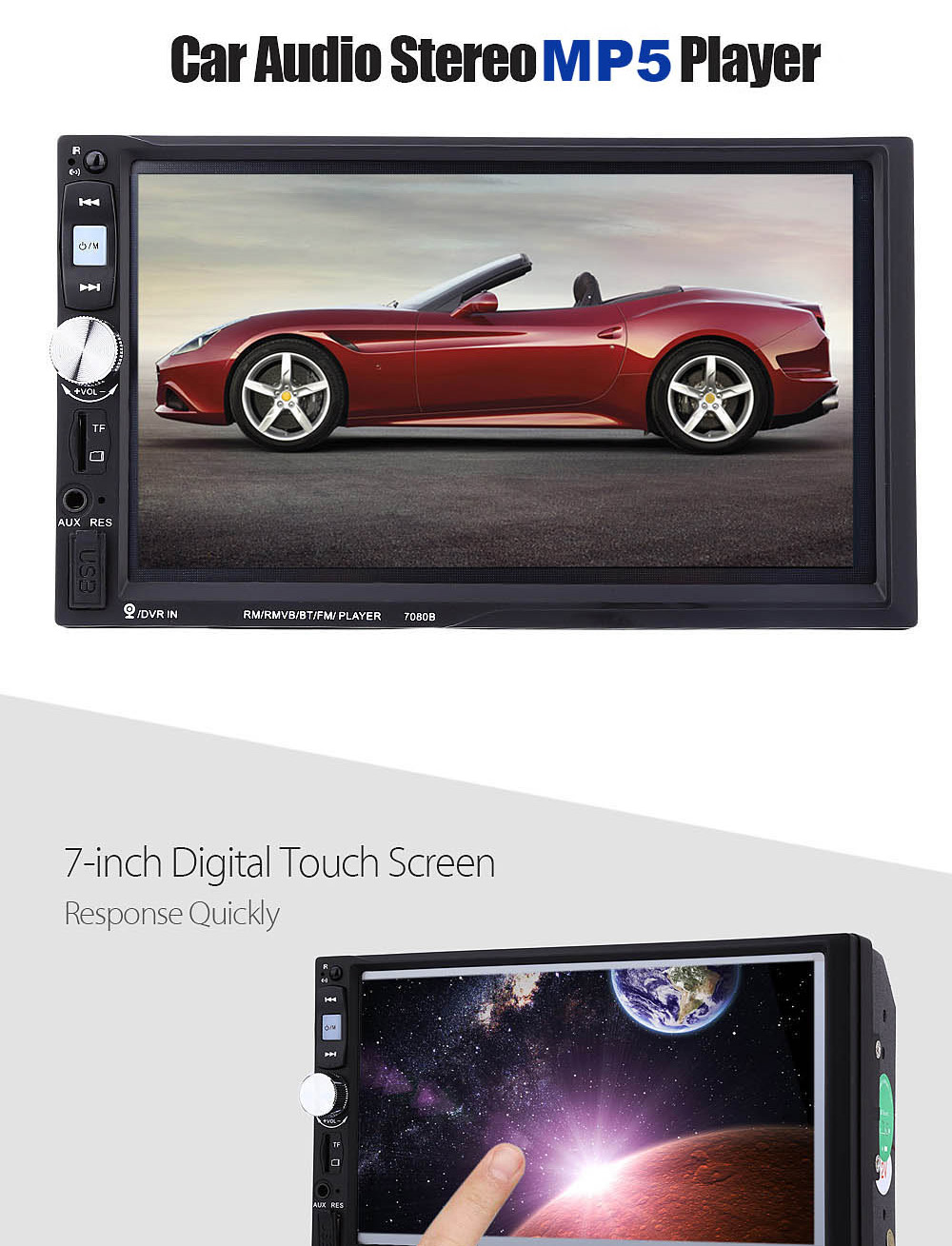 7080B 7 inch Car Audio Stereo MP5 Player 12V Auto Video Remote Control with Rearview Camera