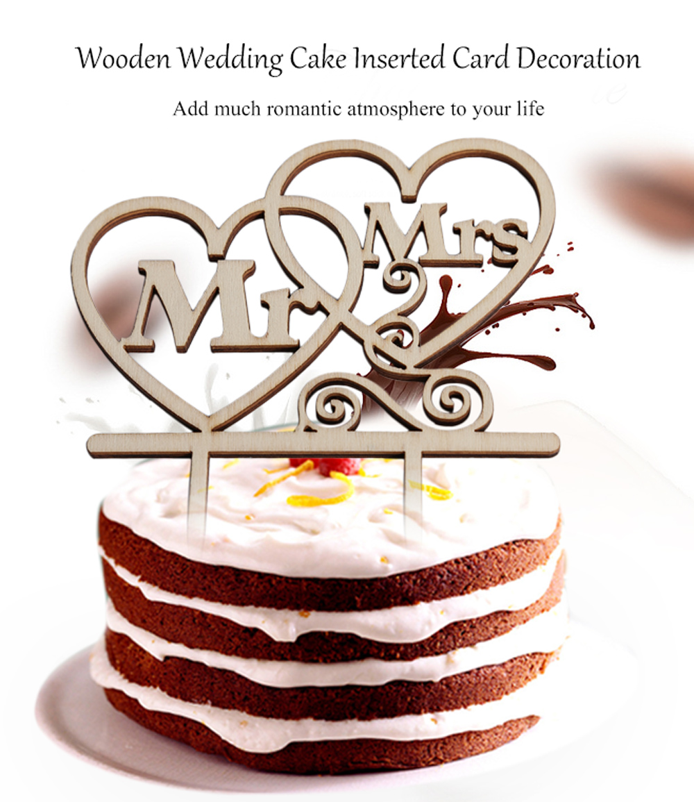 Wooden Mr Mrs Wedding Cake Topper Inserted Card Decoration