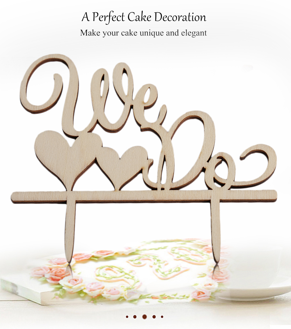 Wooden We Do Wedding Cake Topper Inserted Card Decoration