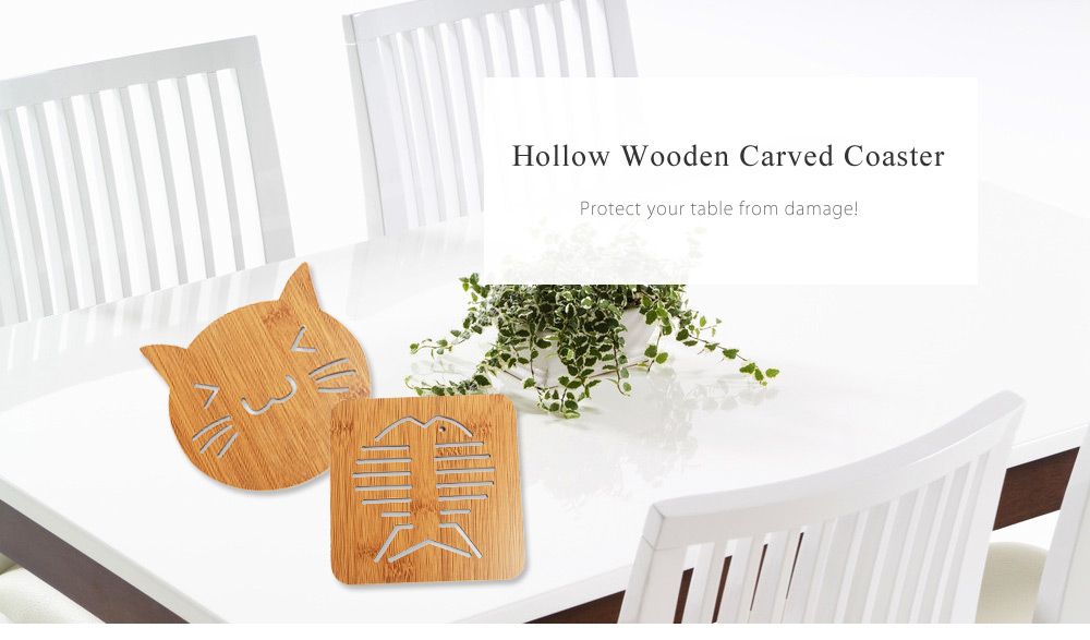 Lovely Hollow Wooden Carved Coaster Heat-insulated Cup Mat Tableware