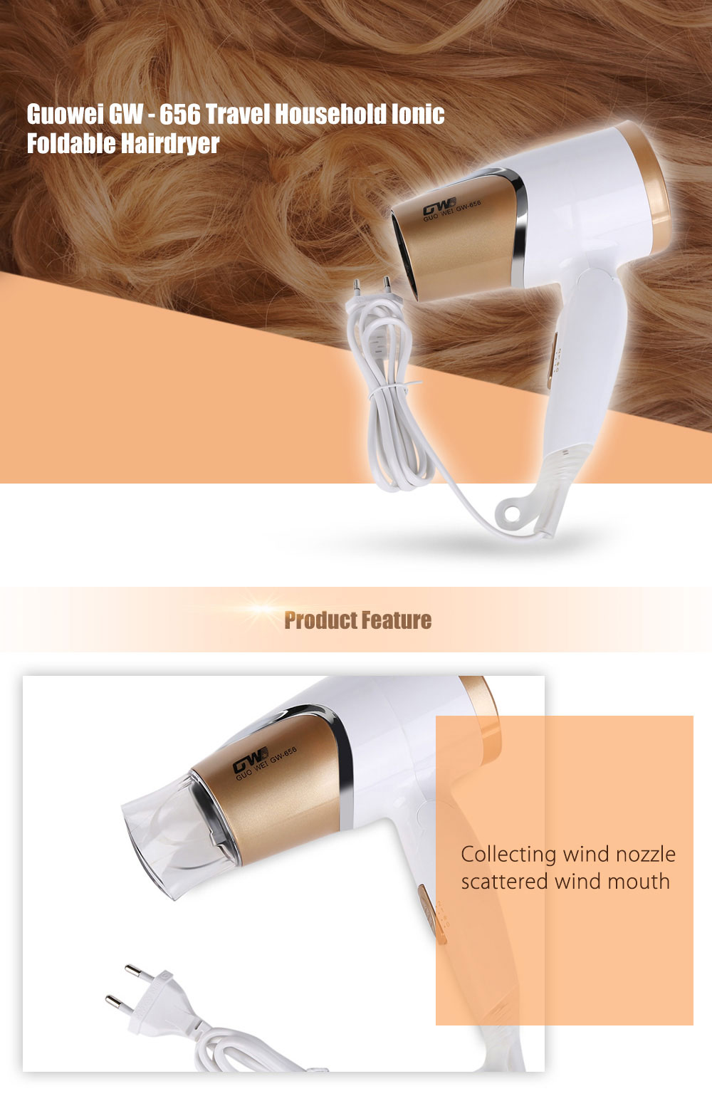 Guowei GW - 656  Styling Tools Travel Household Blow Ionic Foldable Hairdryer