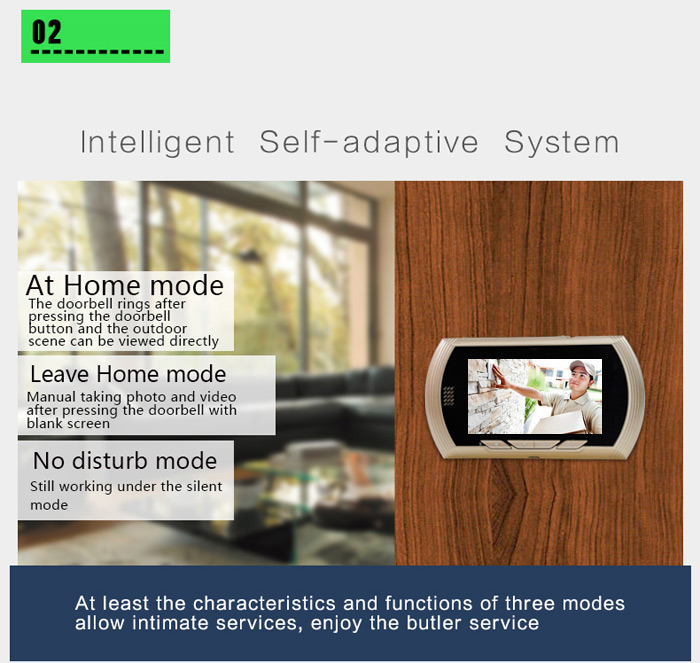 Danmini Smart Digital Door Viewer Peephole Camera with PIR Motion Detection Night Vision DND Function 4.3 inch HD Color Screen