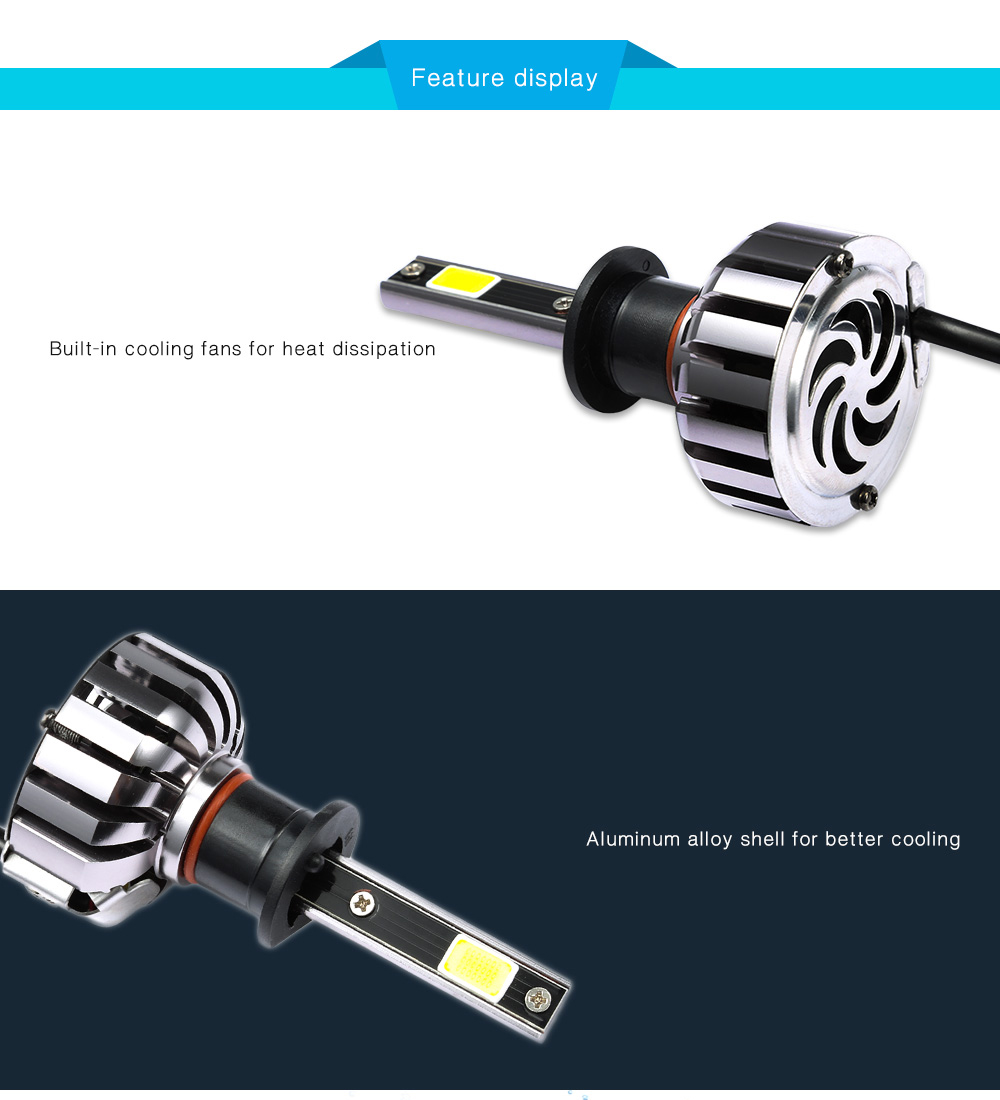 Pair of H1 80W Car LED Headlight Auto Front Lamp 6000K Car Lighting Automobile Headlamp