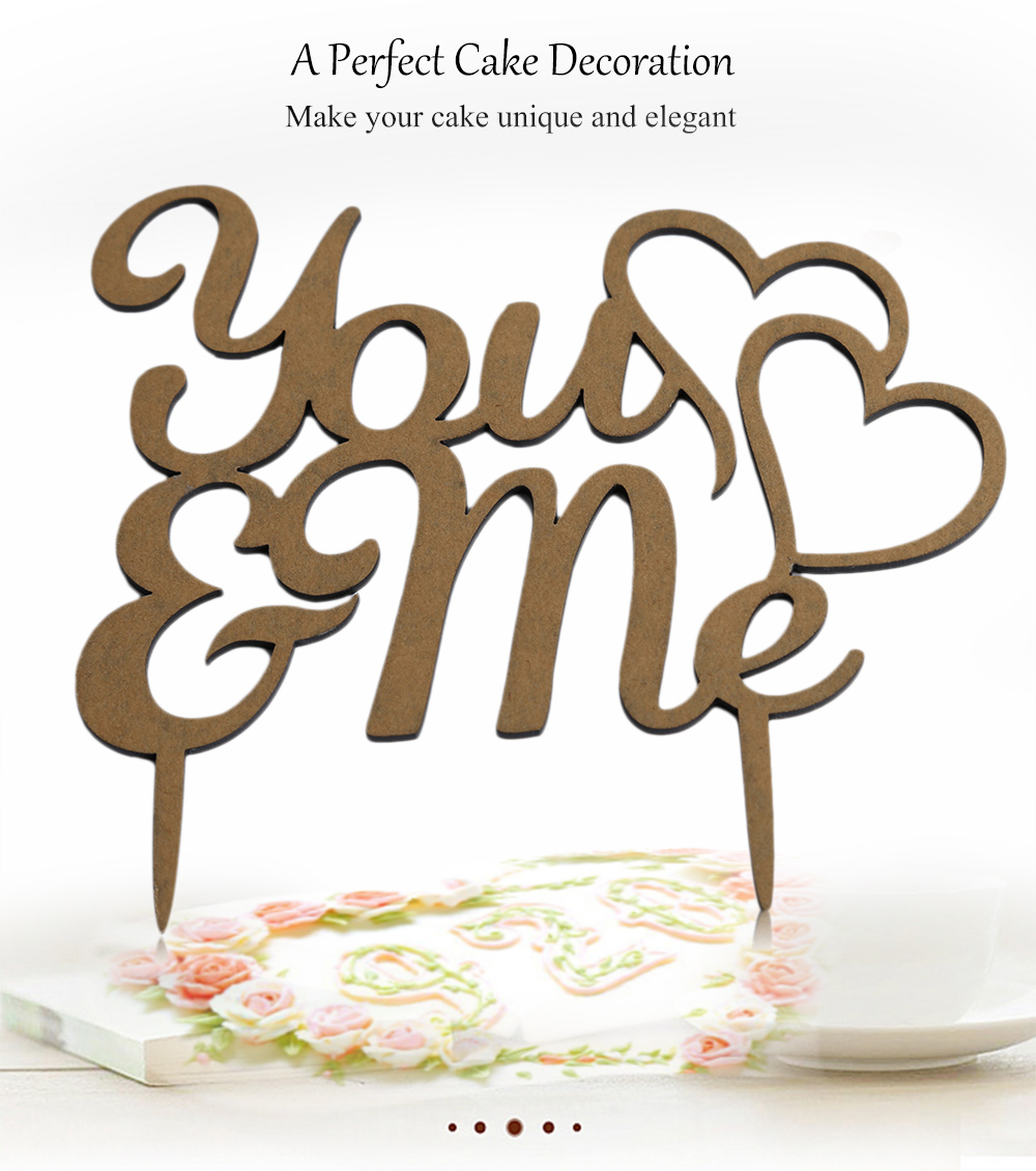 Acrylic You and Me Wedding Party Cake Inserted Card Decoration