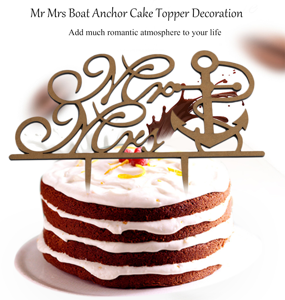 Mr Mrs Boat Anchor Shape Wedding Inserted Card Cake Decoration for Anniversary Party
