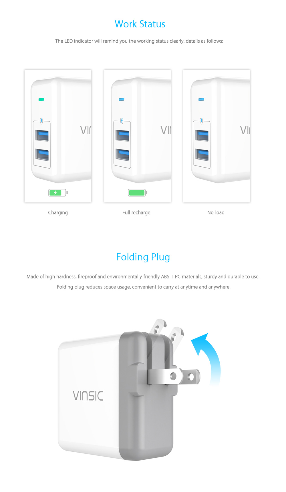 VINSIC VSCW208 5V 4.8A 24W Wall Charger Dual USB Output