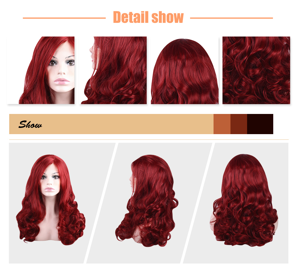 Red Wavy Side Parting Synthetic Lace Front Wigs for Women