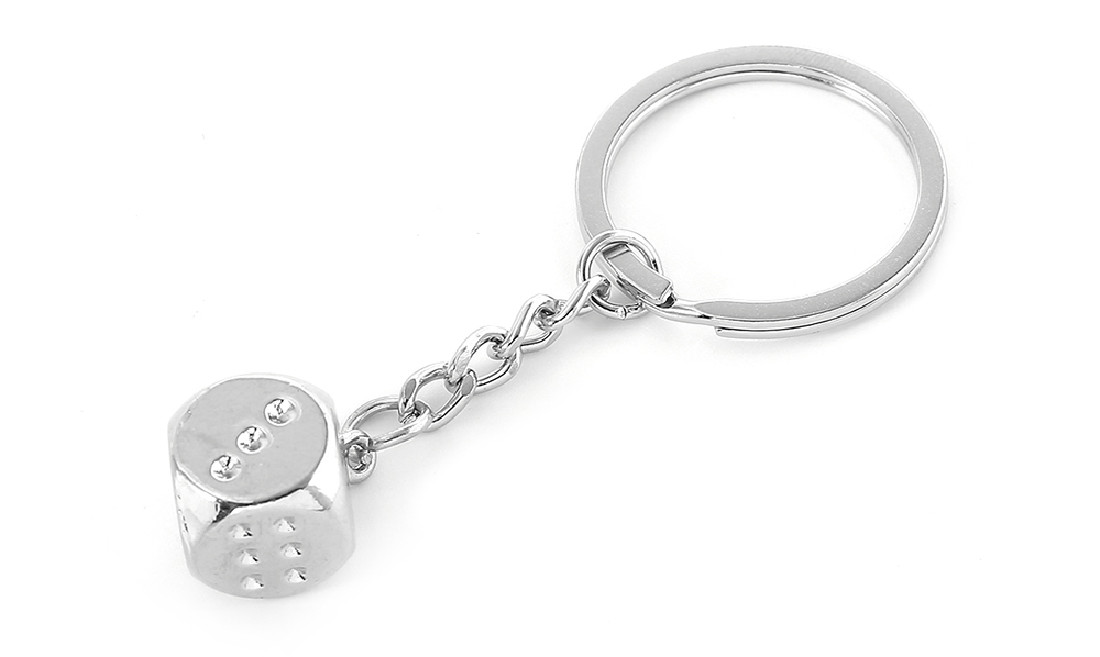 Zinc Alloy Dice Keychain Personalized Creative Gift Car Key Ornament