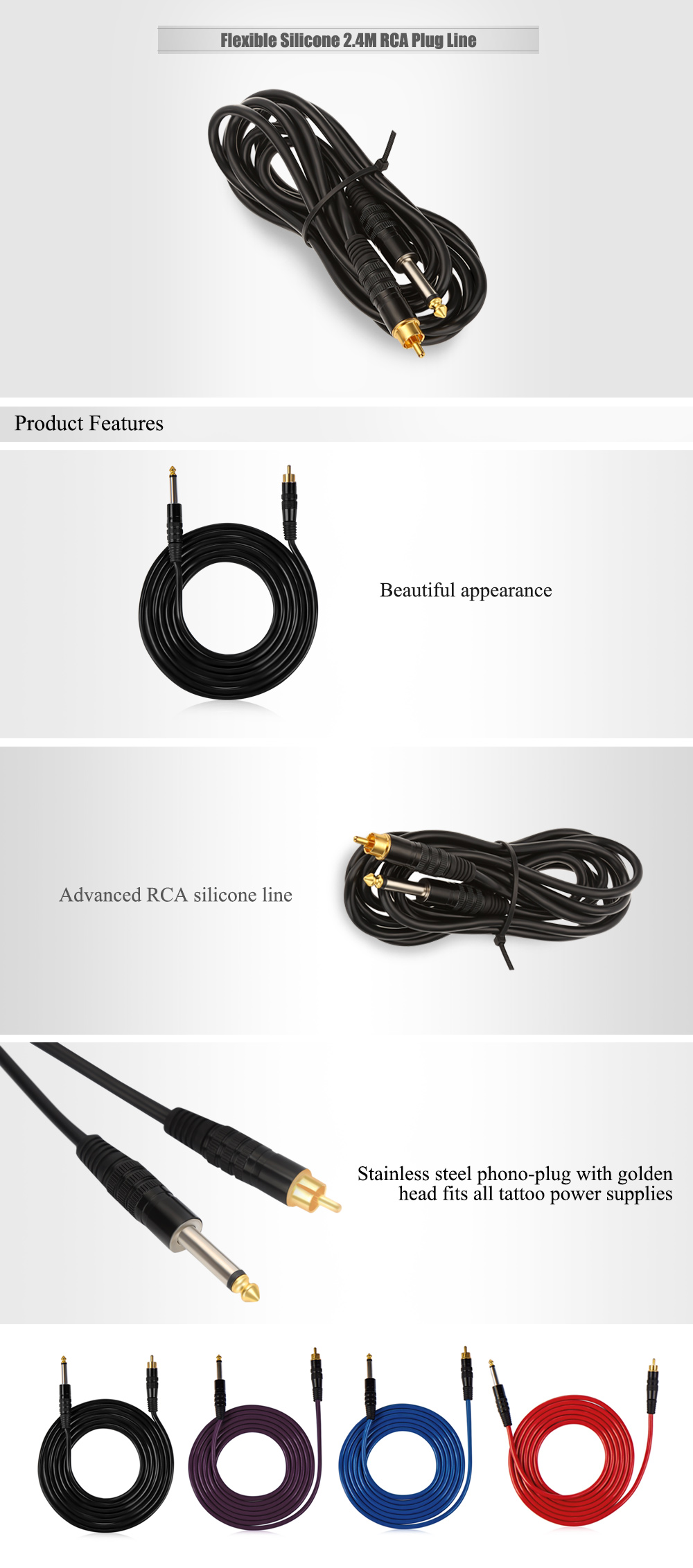 Flexible Silicone 2.4M RCA Plug Line for Tattoo Power Supply