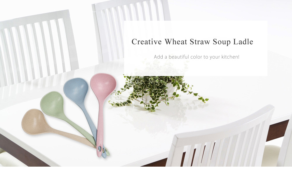 Creative Wheat Straw Soup Hanging Meal Spoon Ladle Kitchen Tool