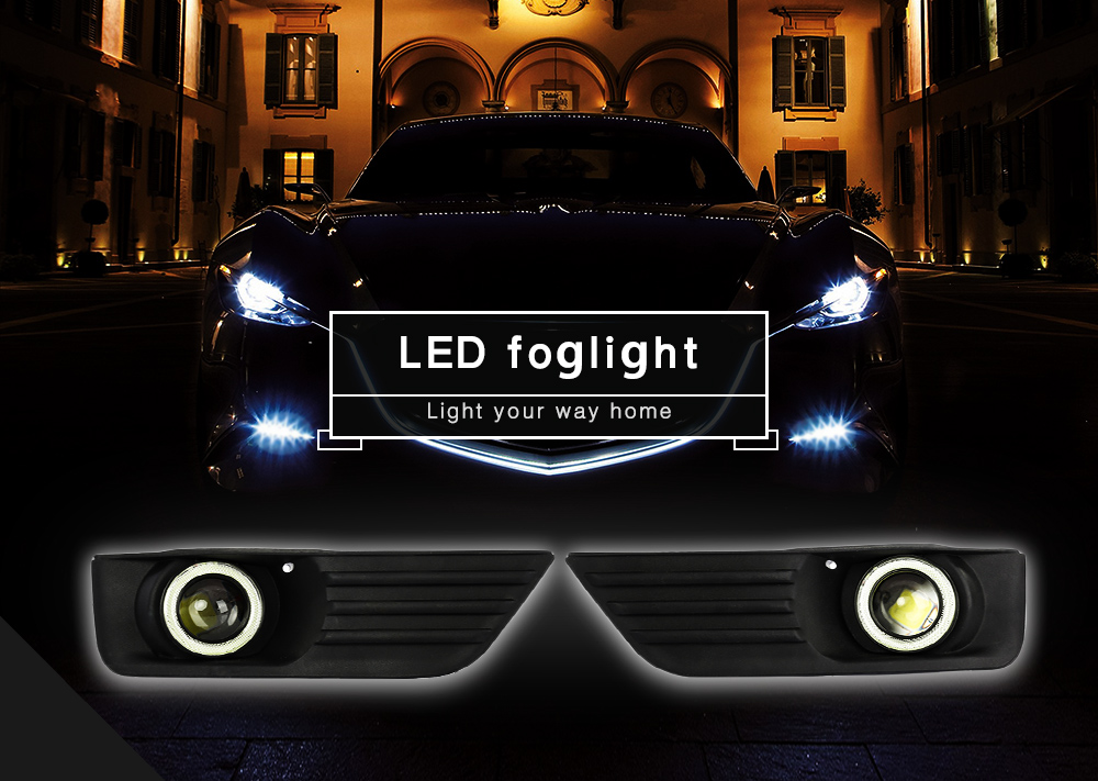 Pair of Front Bumper Fog Lamp Grille LED Light Convex Lens Foglight for Ford Focus