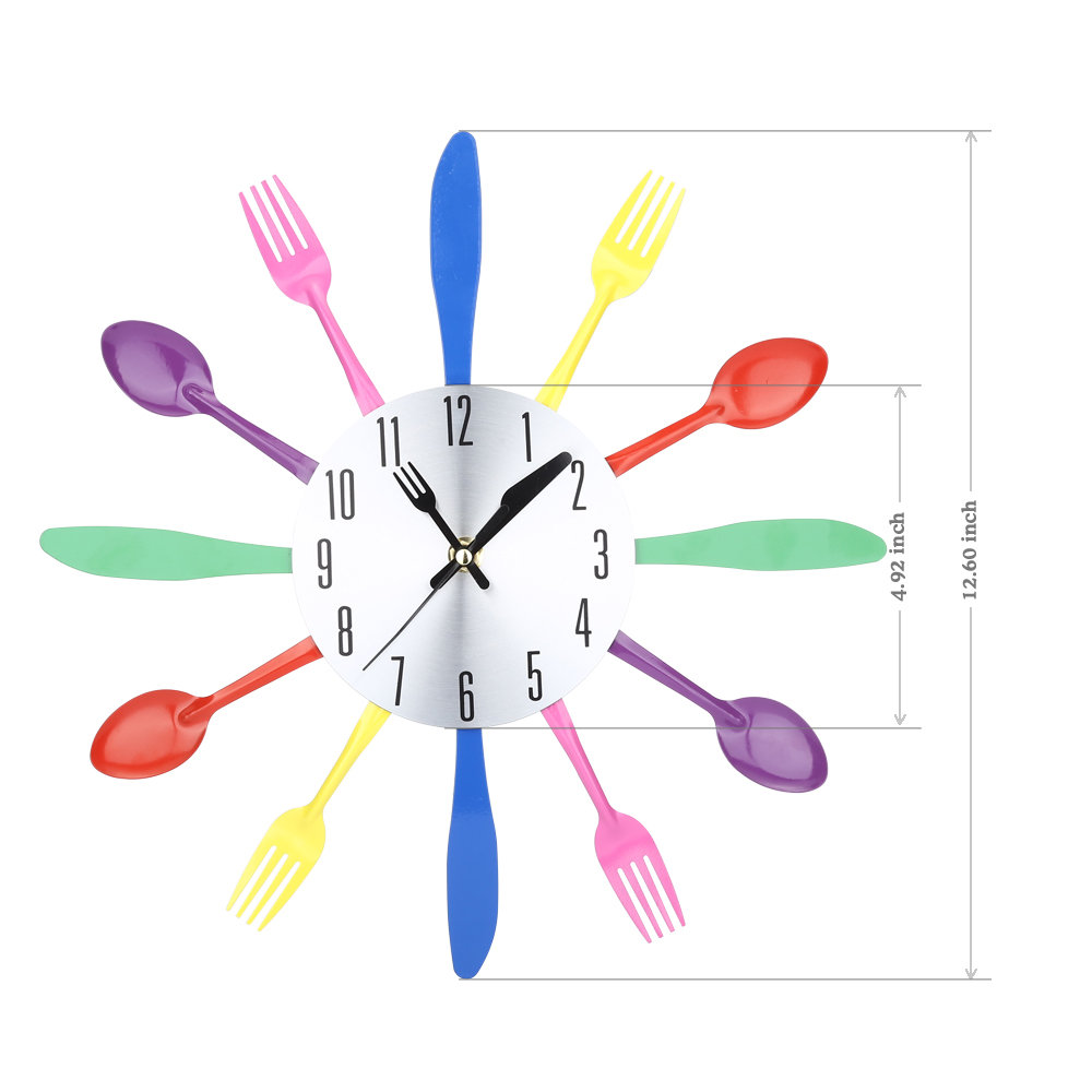 Multi-color Fork Spoon Knife Kitchen Cutlery Wall Clock Home Decoration
