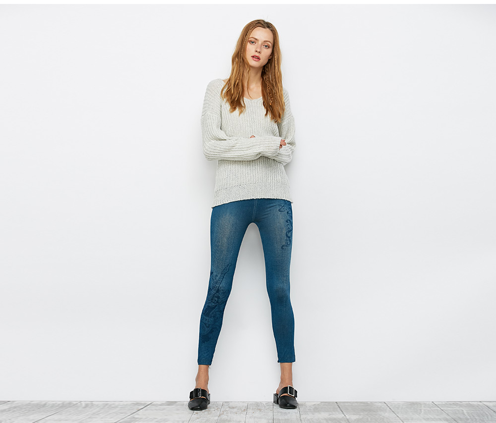 Casual High Waist Print Skinny Jeans for Women