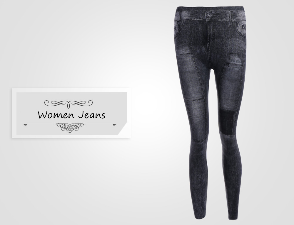 Trendy Mid Waist Patched Black Skinny Jeans for Women