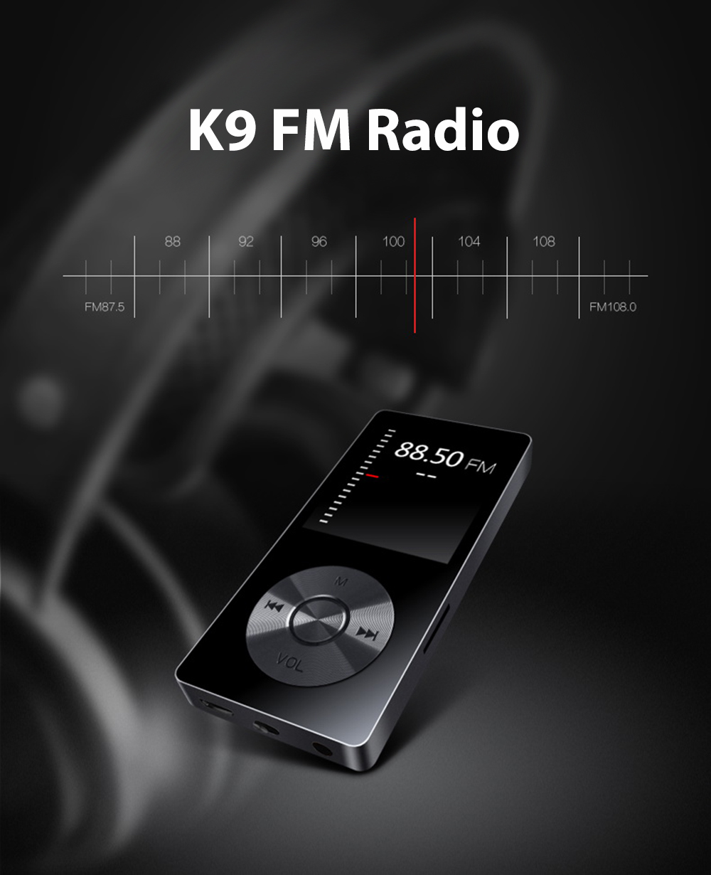 BENJIE K9 1.8 pouces Radio FM E-book 8G Mémoire MP3 Music Lossless Player