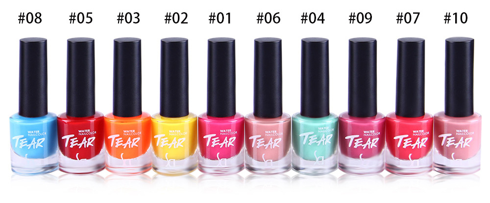 SD Environmentally Non-toxic Peelable Water Based Nail Polish 10 Candy Colors Scent