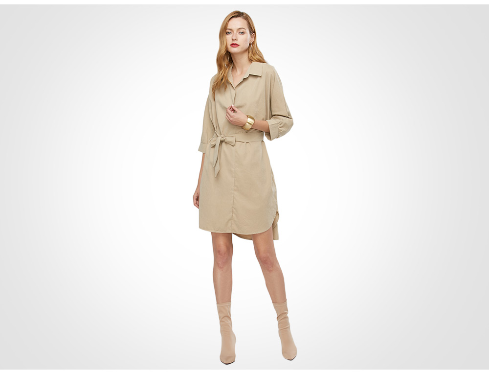 Casual Half Sleeve Turn-down Collar Belted Shirt Dress for Women