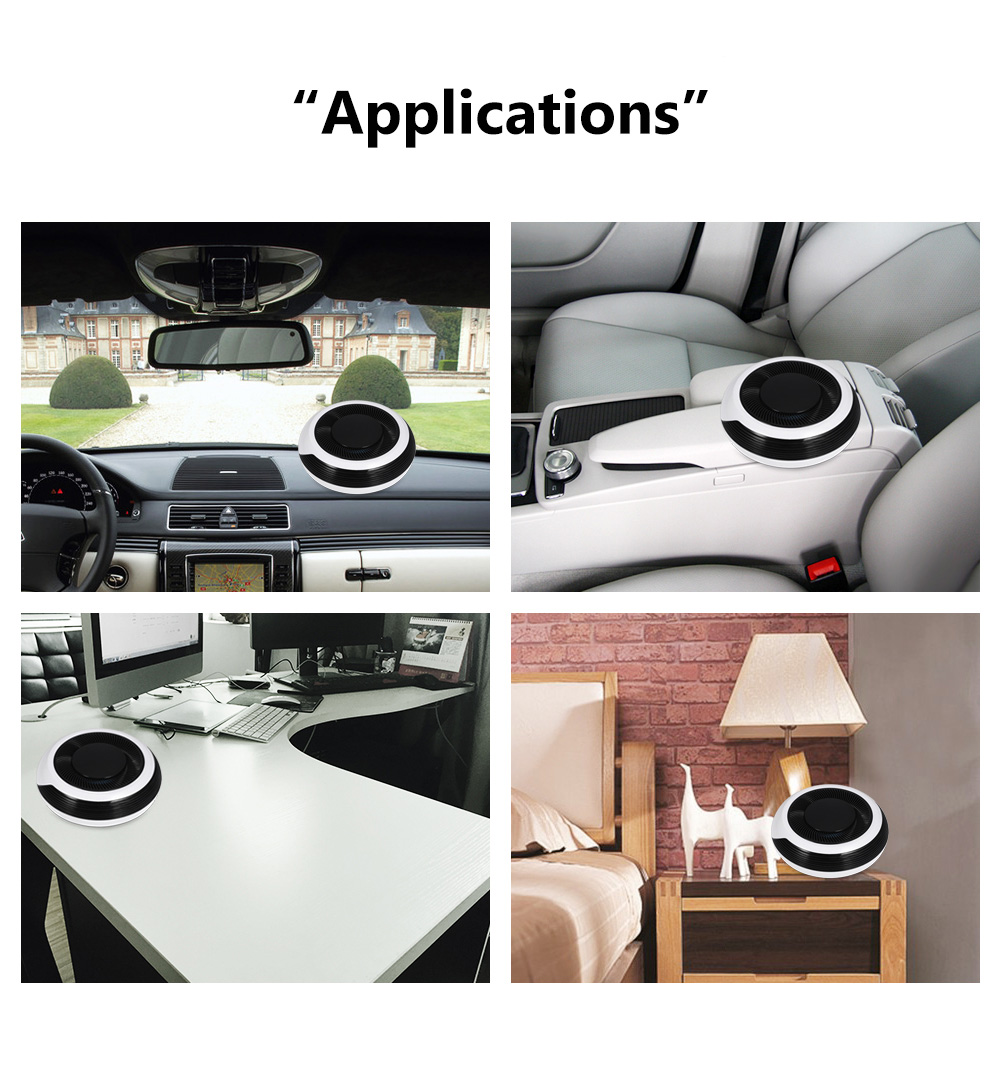 Vehicle Air Purifier Odor Cleaner Activated Carbon Car Charger Anion Generator