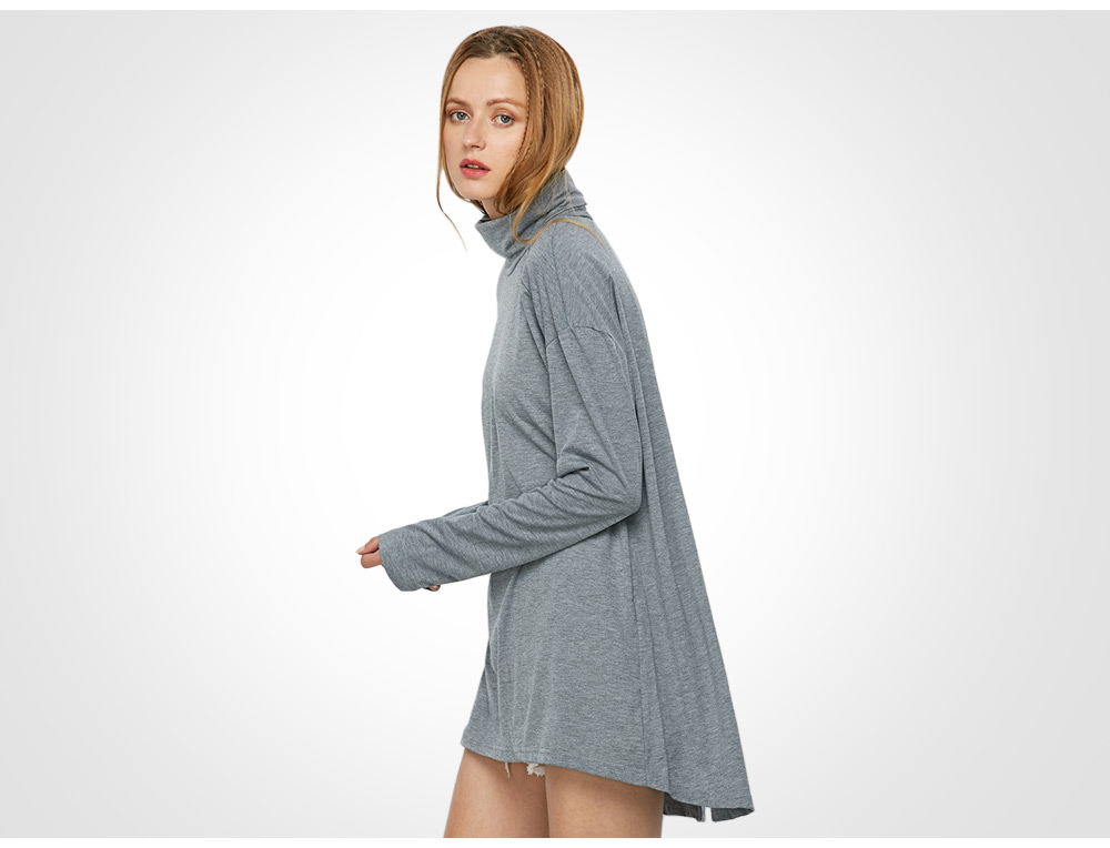 Casual Long Sleeve Stand Collar Slit Design Knitwear for Women