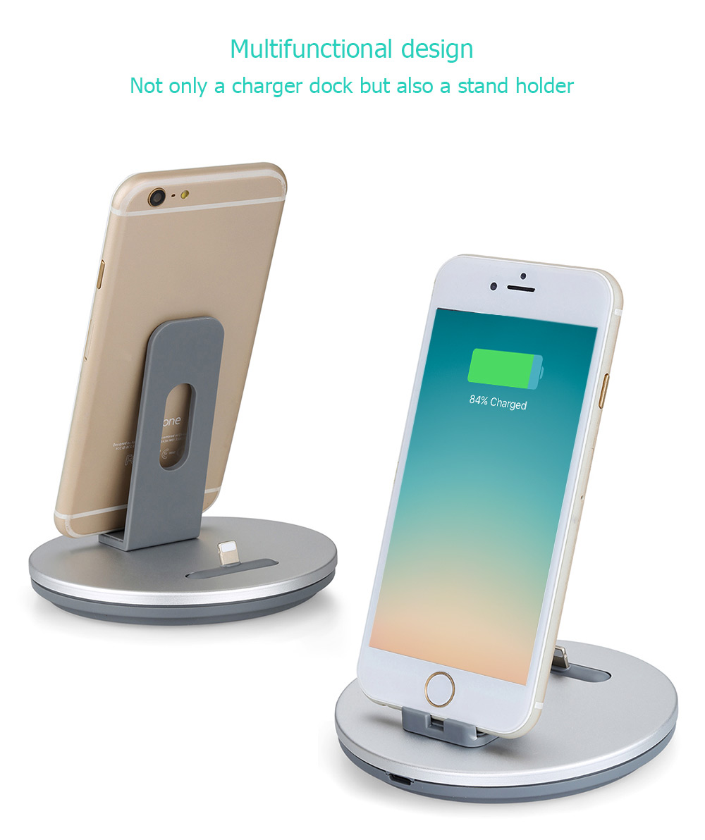 TS029 2 in 1 8 Pin Aluminum Alloy Charger Portable Desktop Cradle Charging Dock for iPhone