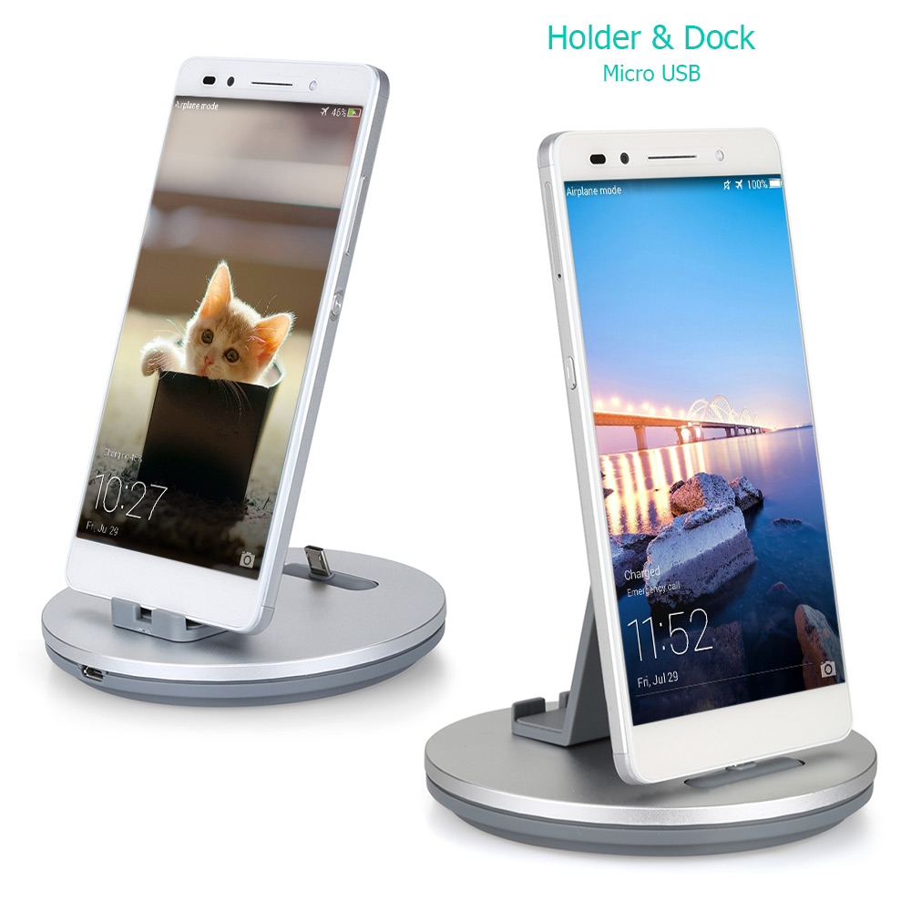 TS028 2 in 1 Micro USB Aluminum Alloy Charger Portable Desktop Cradle Charging Dock
