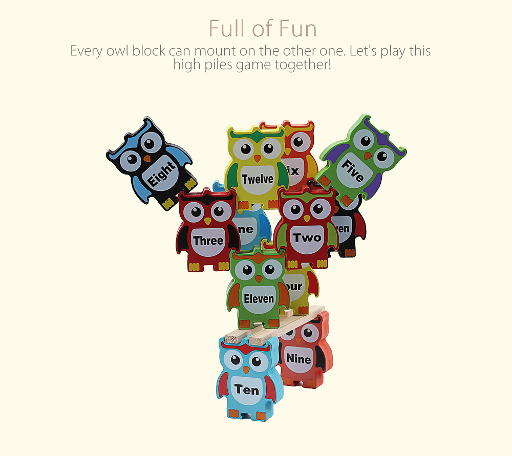 Creative Wooden Owl Building Blocks High Piles Game Child Toy