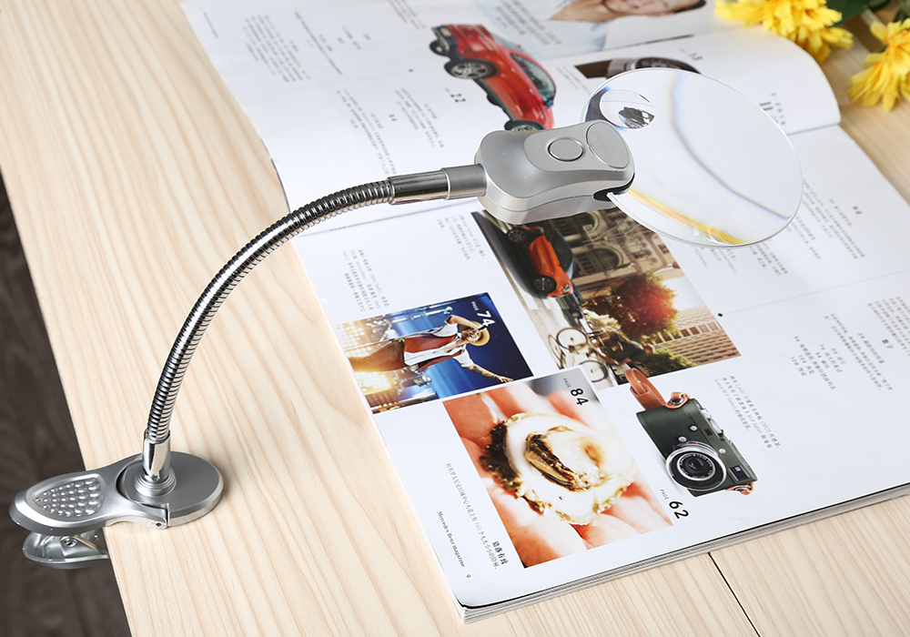 4B - 4 Foldable Magnifier with 2X / 6X Lens Table Desk-type Spring Clip Lamp Loupe