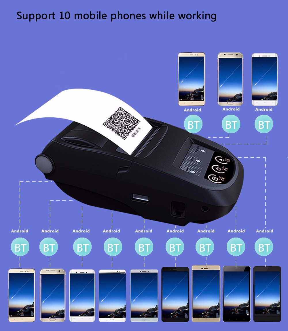 NYEAR NP100 Portable 58mm Bluetooth 4.0 POS Receipt Thermal Printer