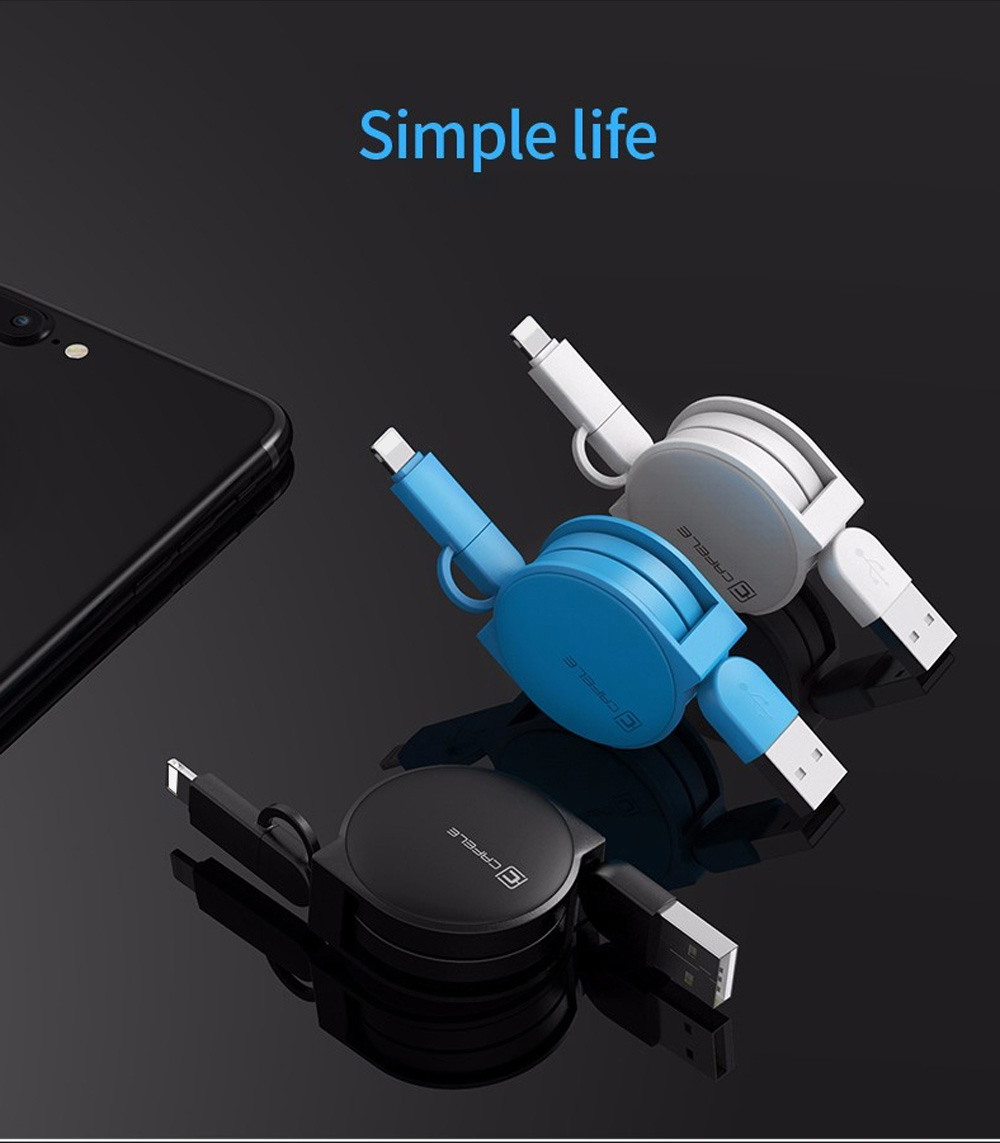 CAFELE 2 in 1 Retractable Micro USB 8 Pin Data Transmission Charging Cord 1M