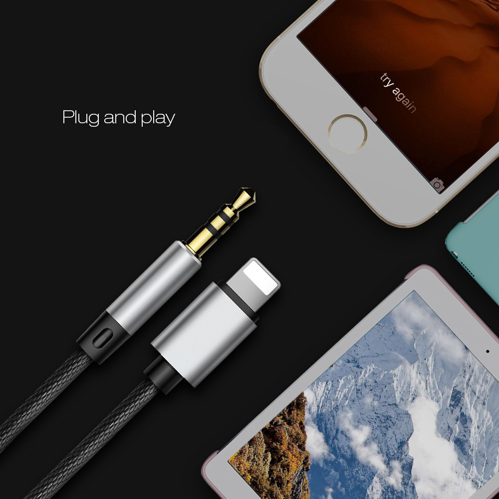 Baseus CALL33 2 in 1 8 Pin to DC 3.5mm Jack Earphone Adapter Cable for iPhone 7 / 7 Plus