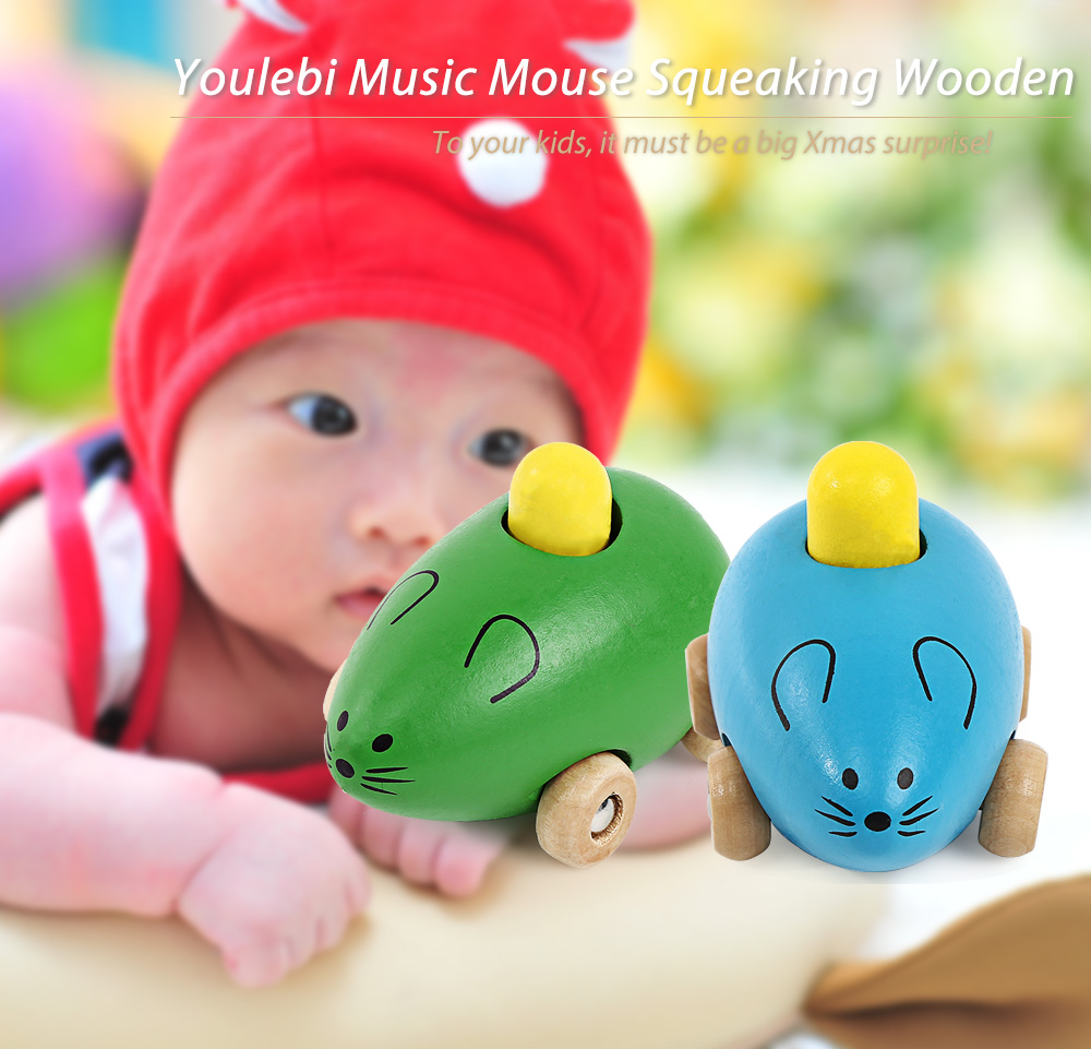Youlebi Music Squeaking Wooden Mouse Early Intelligent Toy
