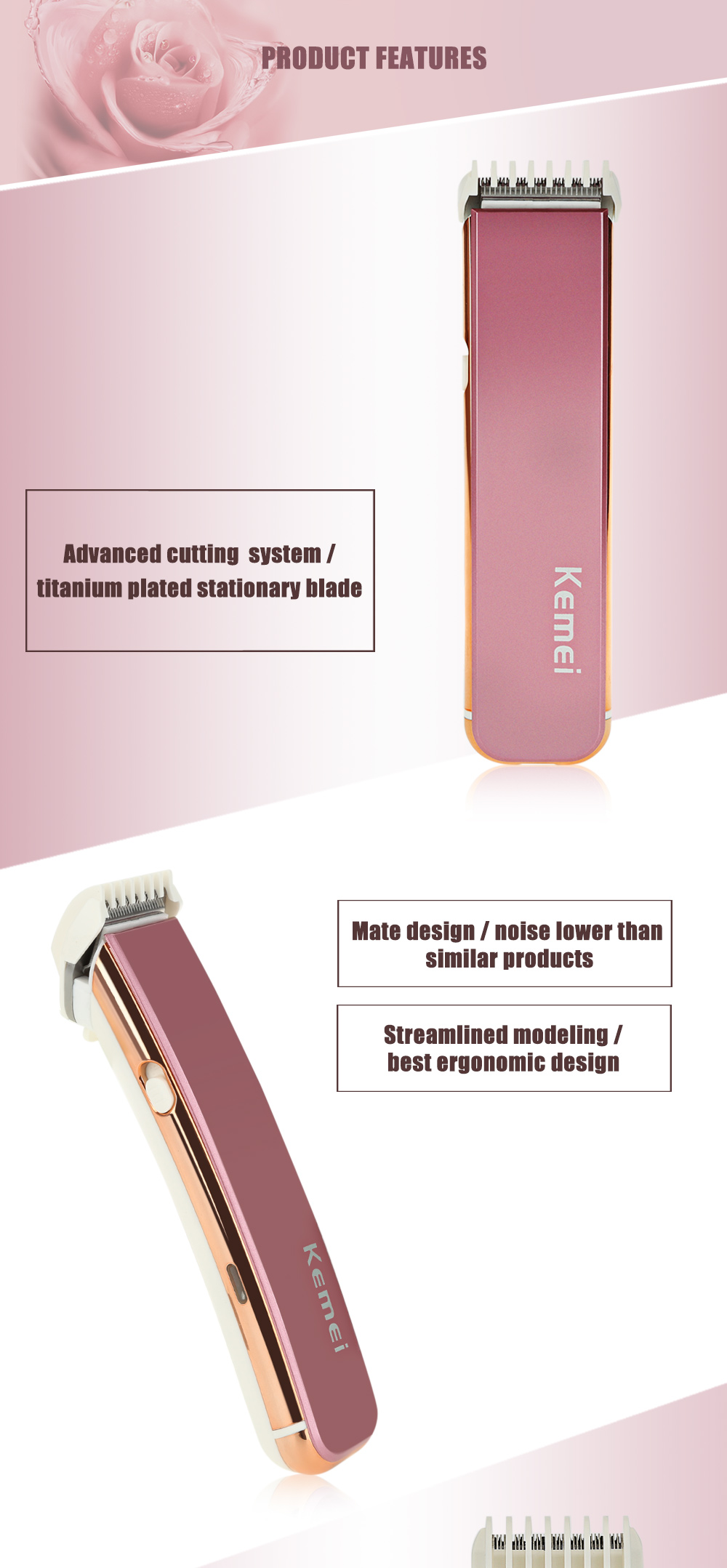 Kemei KM - 621 Electric Rechargeable Hair Trimmer Shaver Barber Clippers