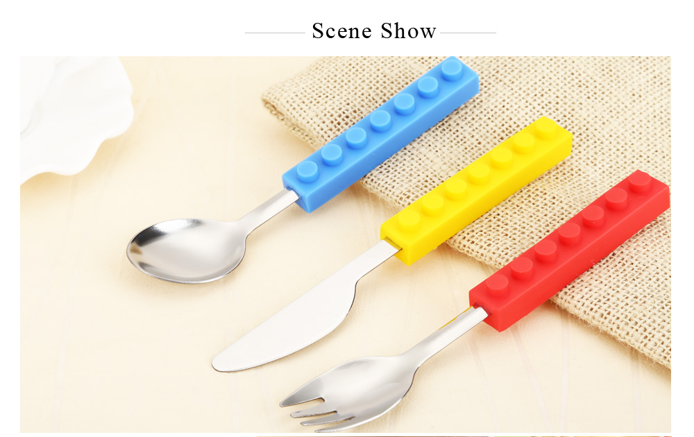 3pcs Building Block Stainless Steel Spoon Fork Knife Cutlery