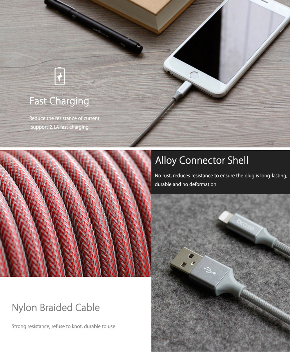 Bcase 1M 8 Pin Nylon Braided Data Transfer Charging Cord with Magic Sticker