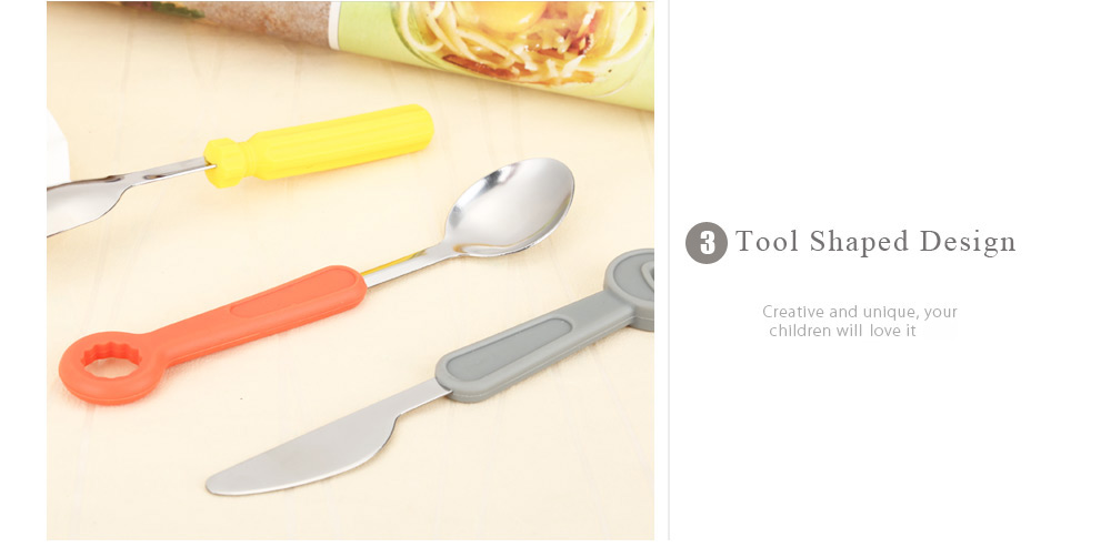 3pcs Tool Shaped Stainless Steel Spoon Fork Knife Cutlery
