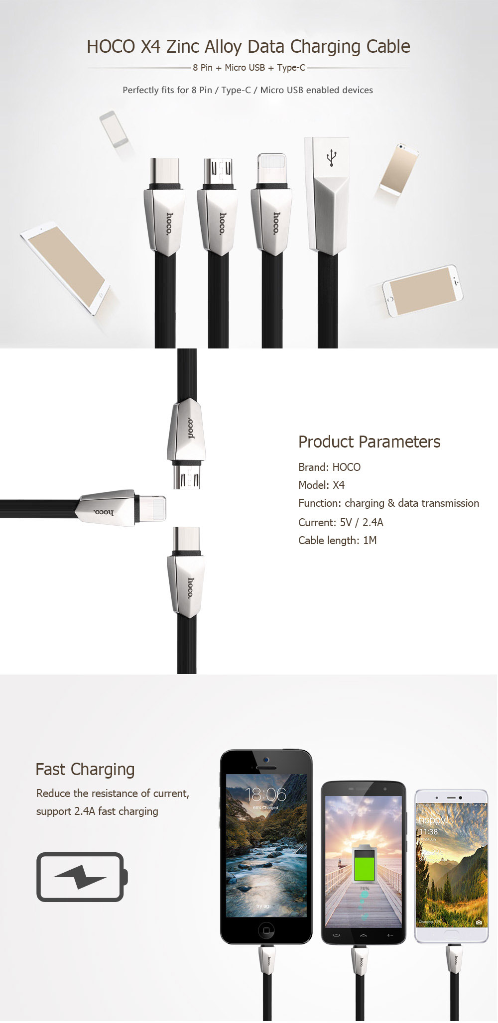 HOCO X4 3 in 1 8 Pin Micro USB Type-C Zinc Alloy Rhombic Fast Charging Data Transfer Cable 1M