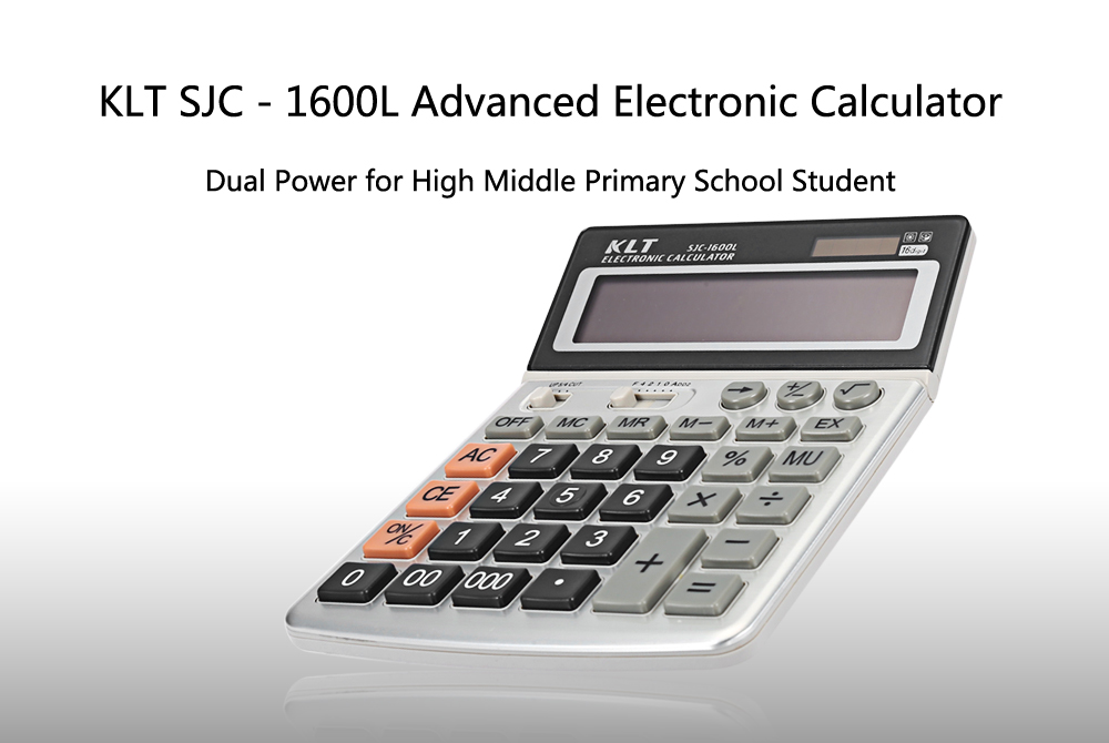 KLT SJC - 1600L Dual Power Advanced Electronic Calculator for High Middle Primary School Student