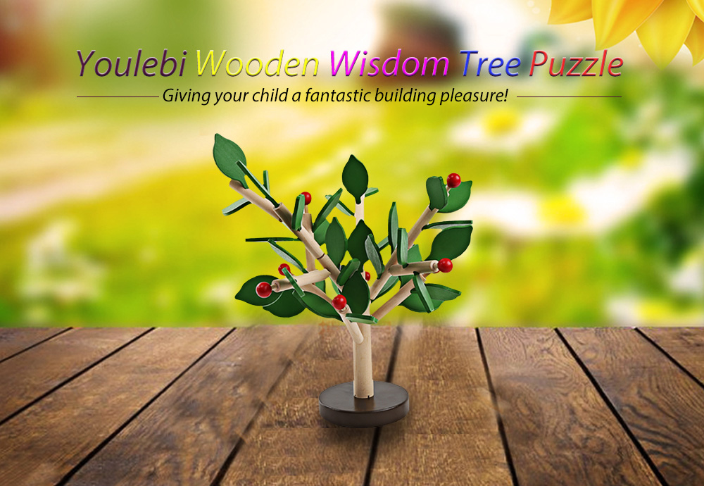 Youlebi Wooden Wisdom Tree Puzzle Inserted Blocks Child Early Educational Toy