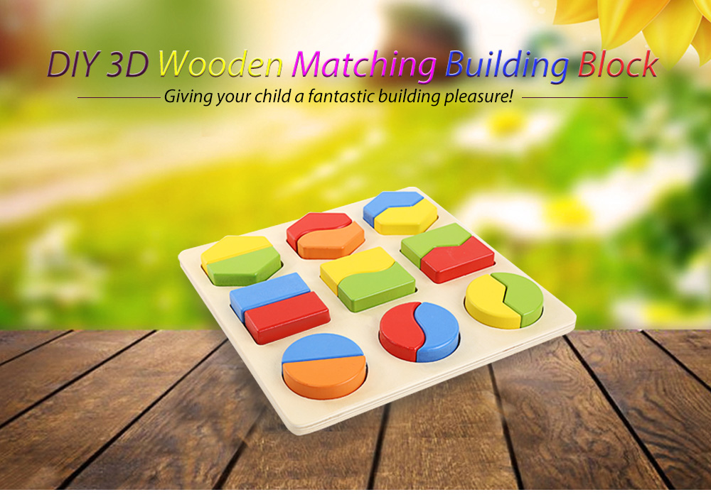 DIY 3D Matching Geometry Wooden Building Block Birthday Xmas Gift