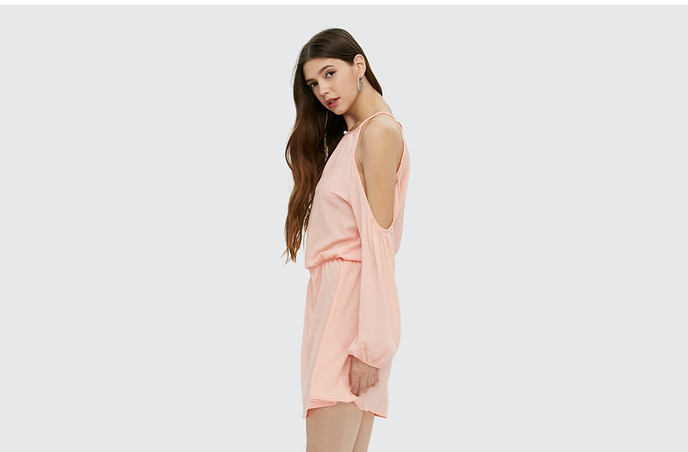 Brief Long Sleeve Round Collar Strapless Pink Dress for Women