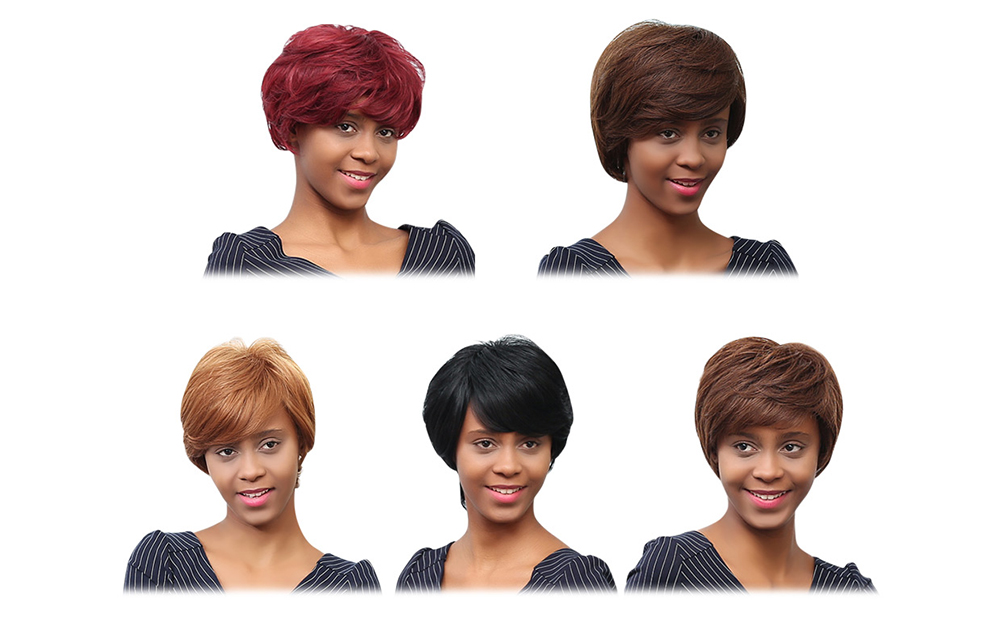 EMMOR Stunning Short Layered Human Hair Wigs with Side Bangs for Women