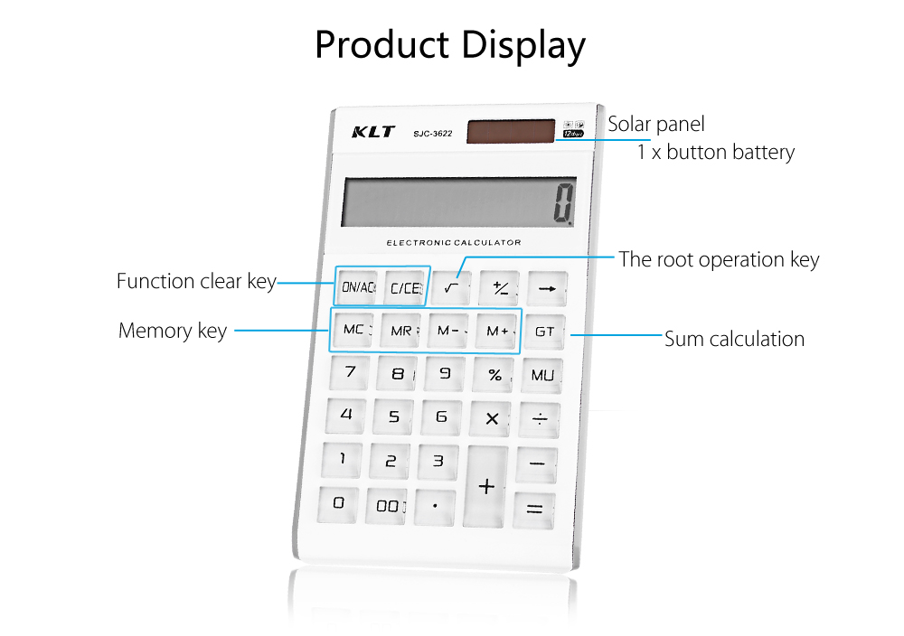 KLT SJC - 3622 Electronic Desktop Calculator with Large 12 Digit LCD Display Office Style Calculator