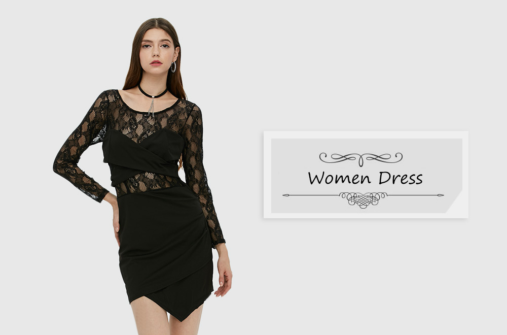 Sexy Long Sleeve Round Collar Hollow Lace Spliced Dress for Women