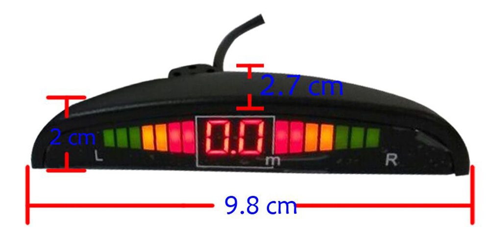 Car Vehicle Radar Parking System Buzzing Alert LED Display Distance Detection with 4 Sensors