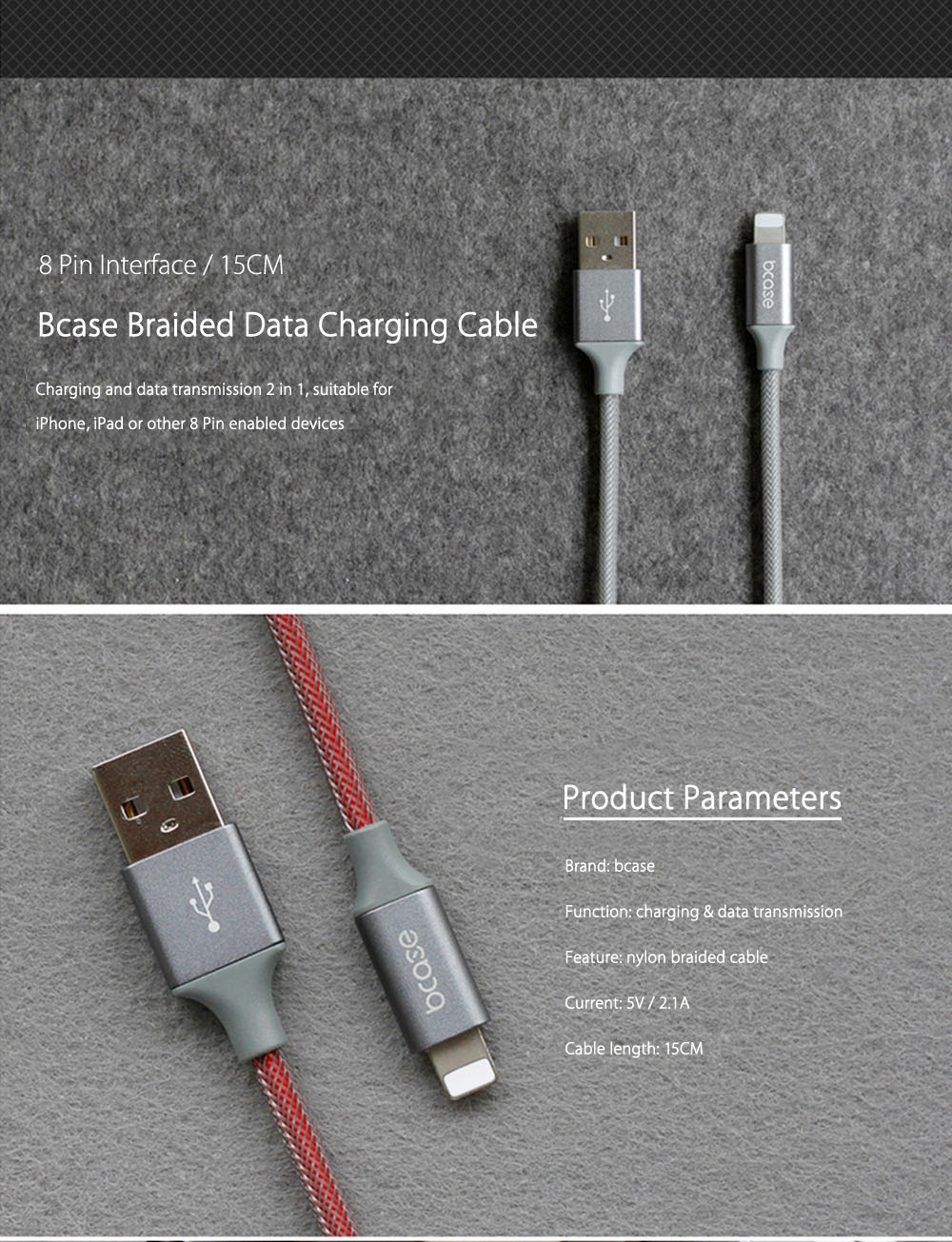 Bcase 15CM 8 Pin Nylon Braided Data Transfer Charging Cord
