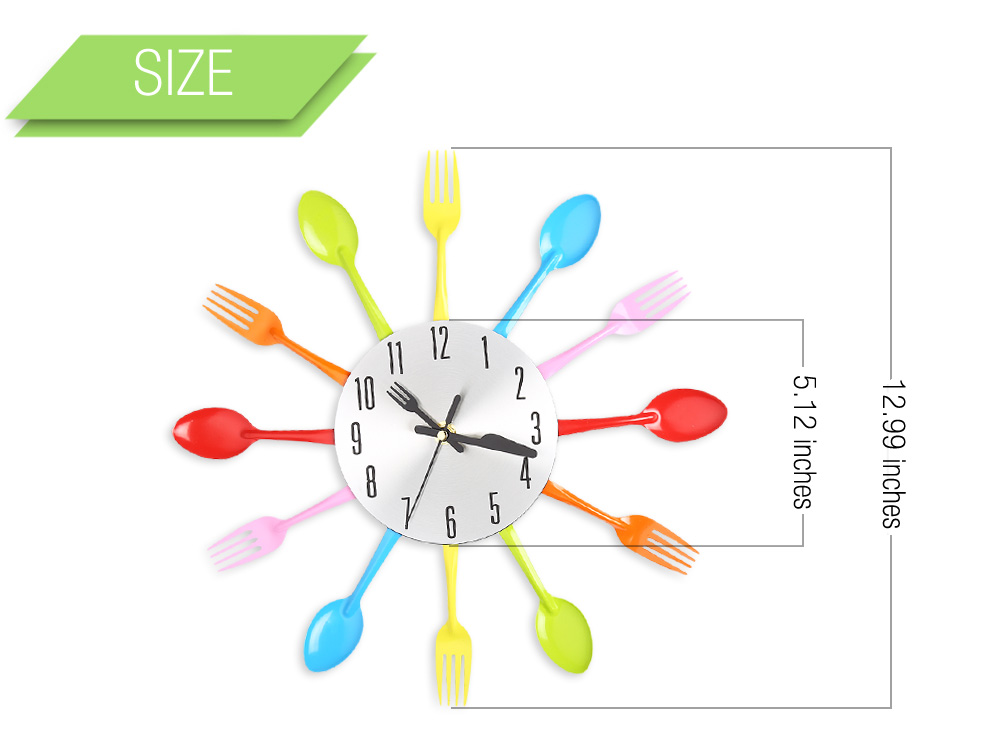 Multicolors Fork Spoon Kitchen Cutlery Wall Clock Home Decor