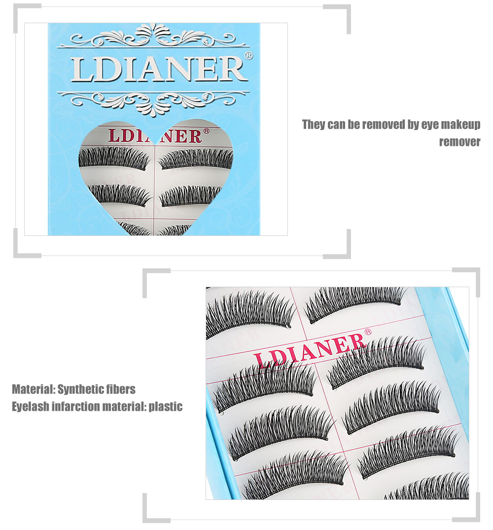 LDIANER Fashion 10 Pairs Natural Black Long Cross Thick Fake Eyelashes
