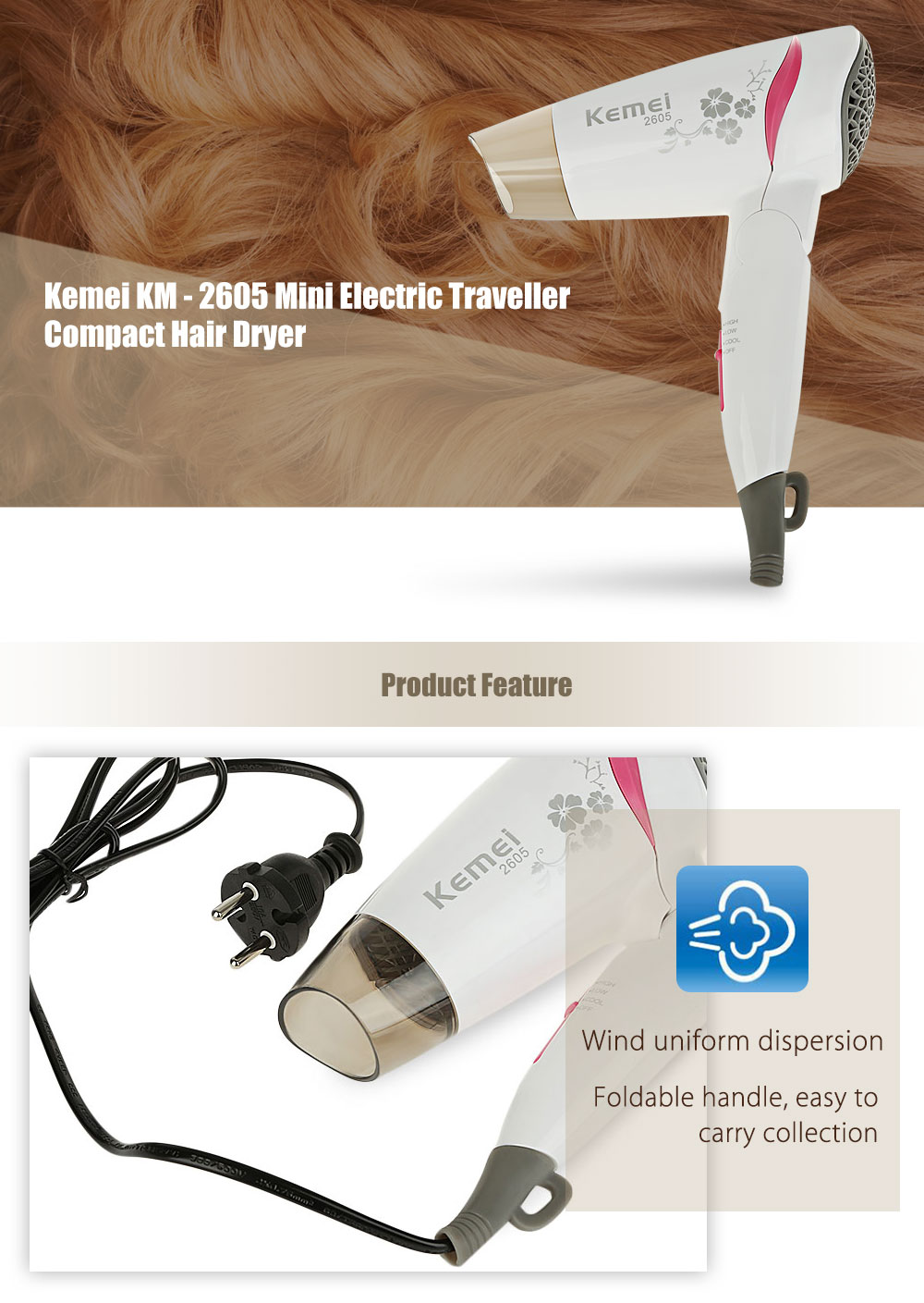 Kemei KM - 2605 Mini Household Electric Portable Traveller Compact Hair Dryer