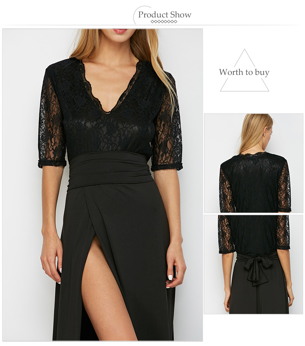 Fashionable Half Lace Sleeve V Neck Tie Waist Slit Dress for Women